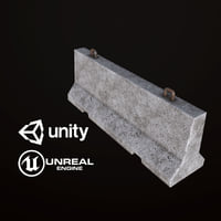 3D pbr ready concrete barricade model