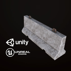 3D pbr ready concrete barricade model