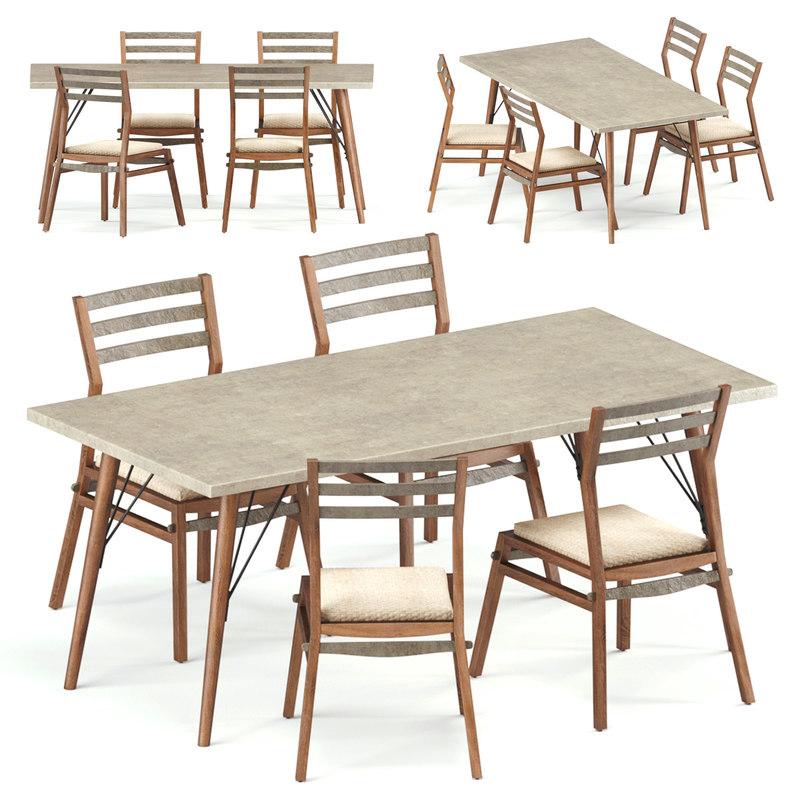 3D model loft dining set table chair