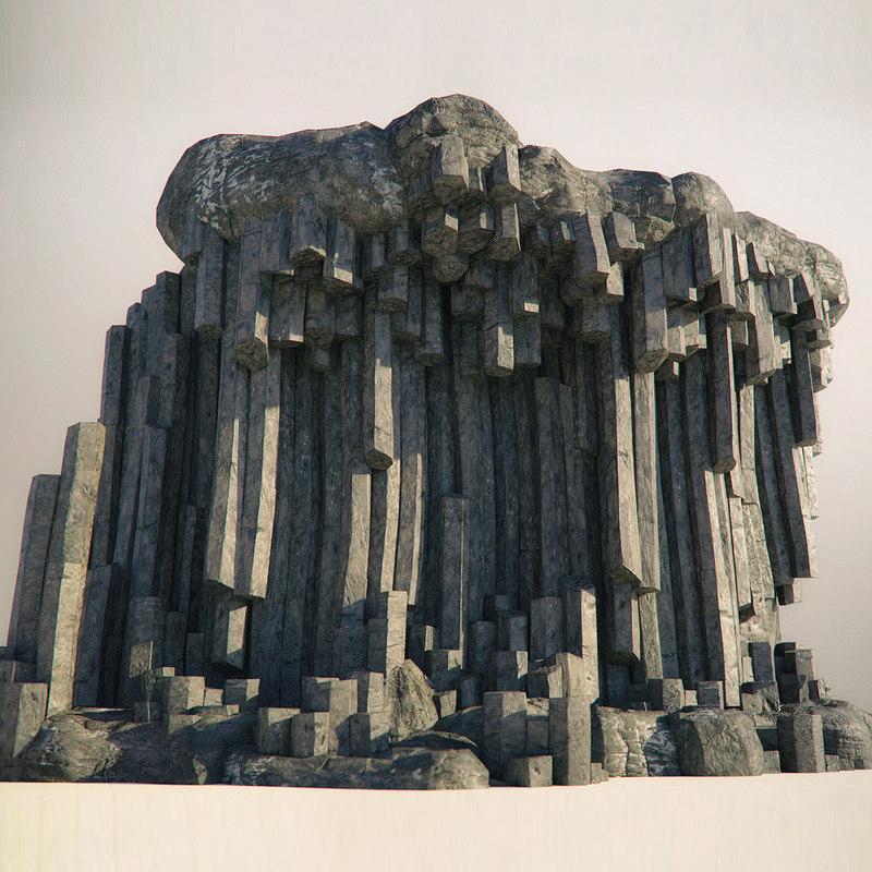3D basalt columns rocks kit model