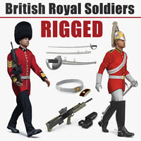 british royal rigged soldiers 3D
