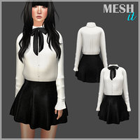 3D model shirt skirt set