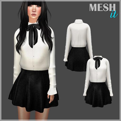 3D model shirt skirt set