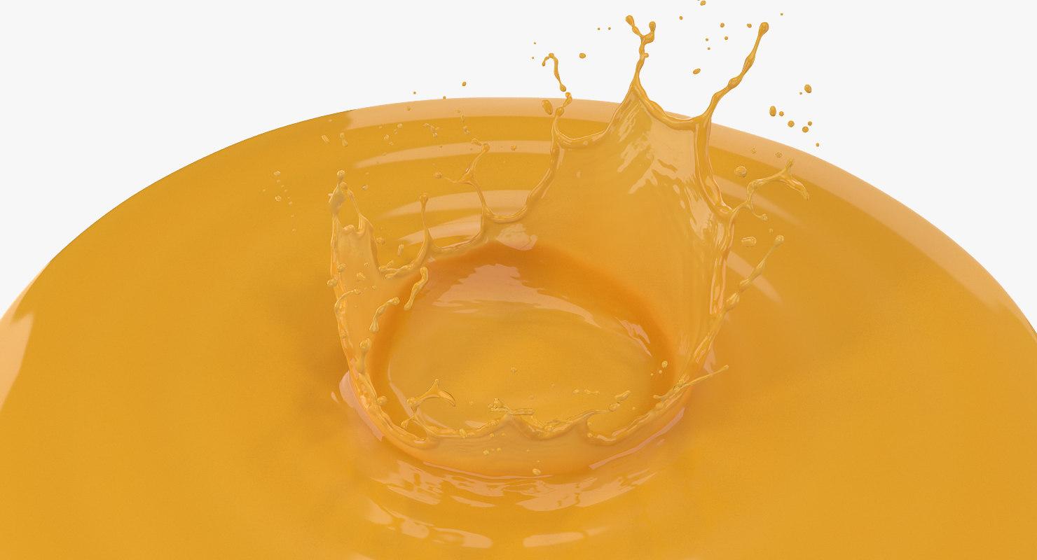 3D orange crown splash model