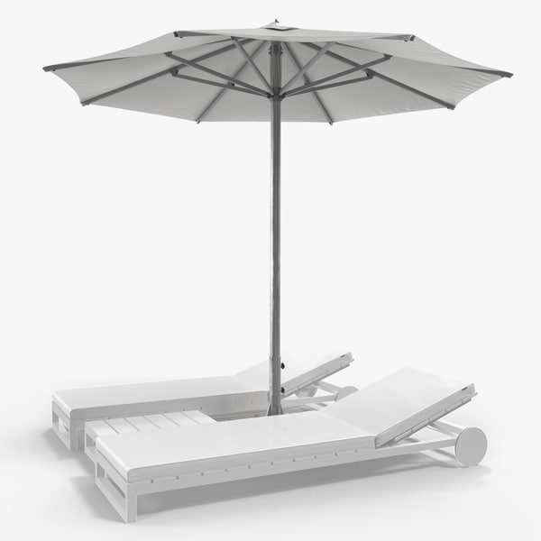 3D sun loungers umbrella 2