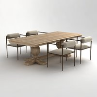 table chair arteriors barbara 3D