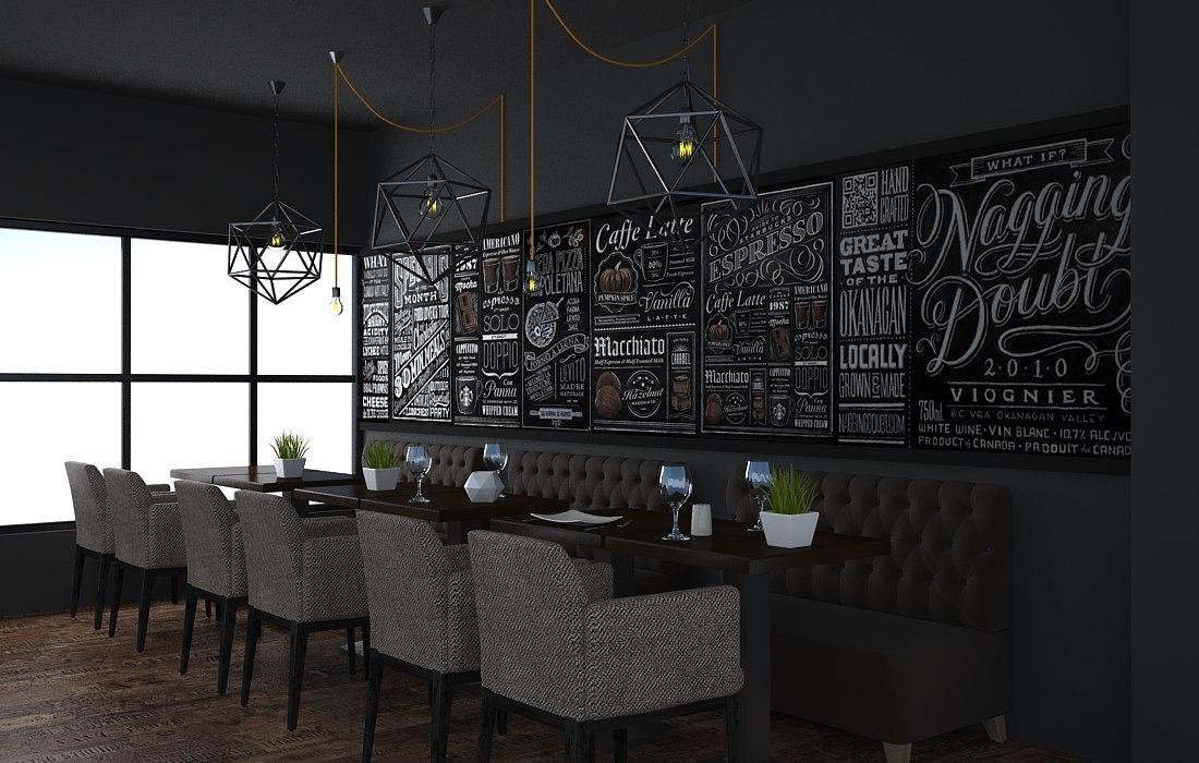 3D loft cafe model