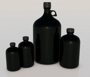 bottles retro historic 3D model