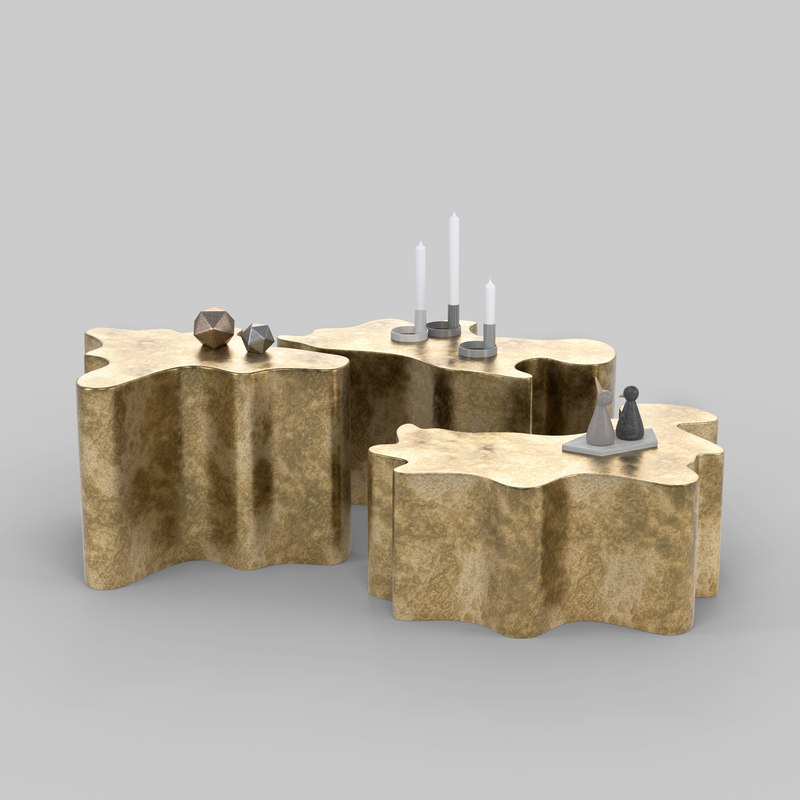gold modern coffee table 3D model