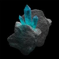 3D mineral crystals aquamarine