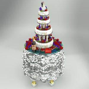 3D model chocorose wedding cake