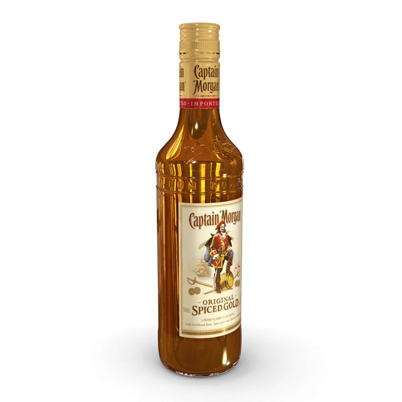 3D model captain morgan 50cl bottle