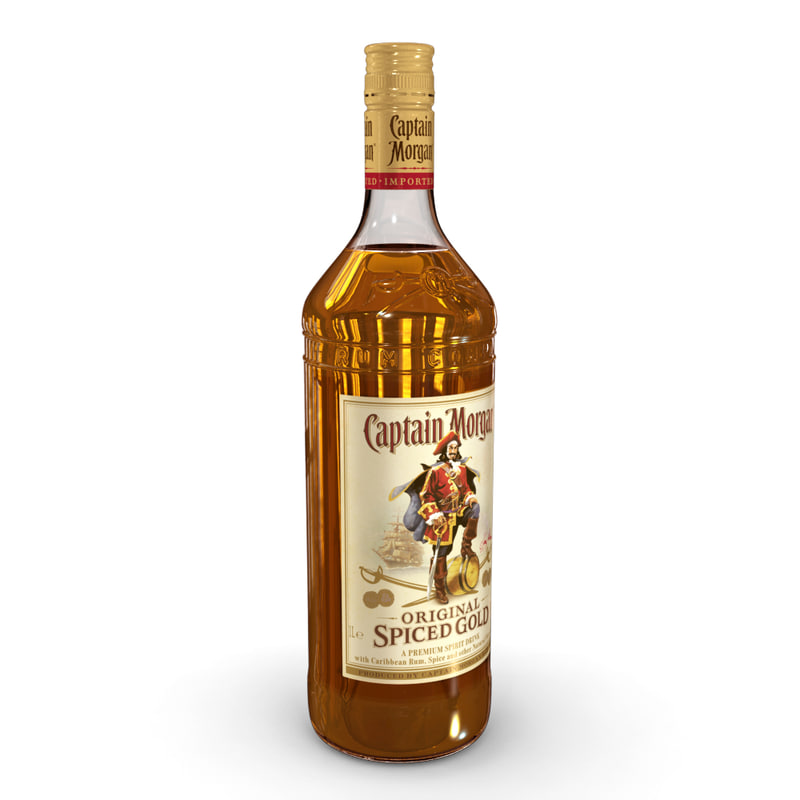 captain morgan 1l bottle 3D