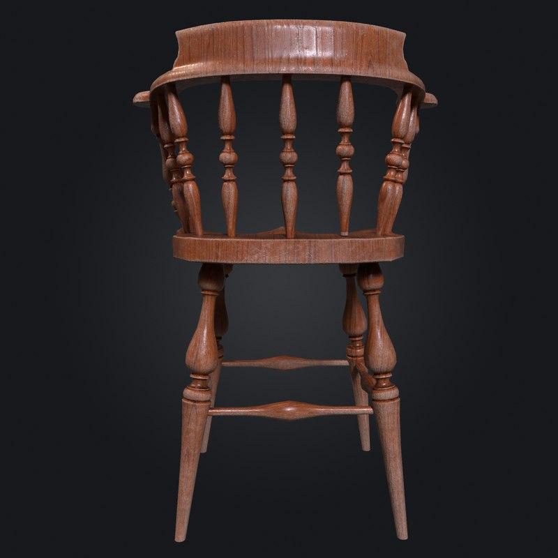 3D ready wooden chair model