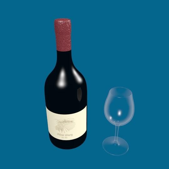 3D wine bottle glass