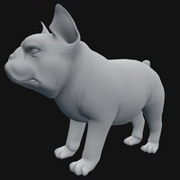 3D base mesh french bulldog