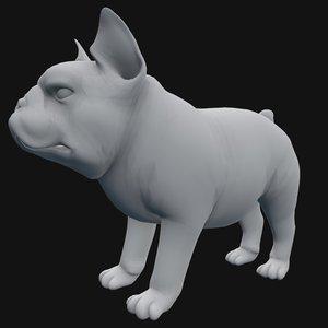 3D base mesh french bulldog