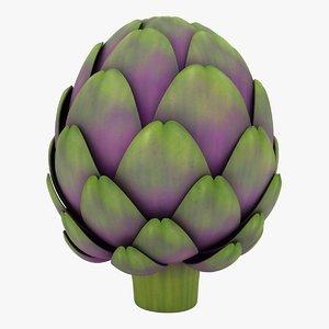 3D realistic artichoke color 2 model