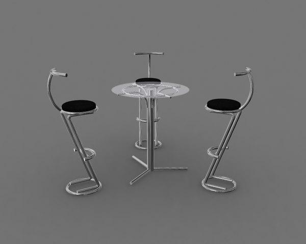 stool table bar 3D