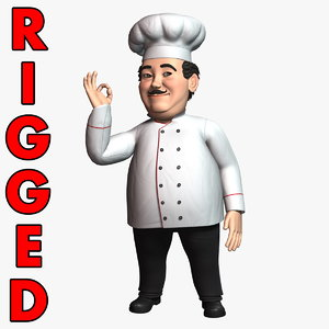 3D cartoon chef rigged character