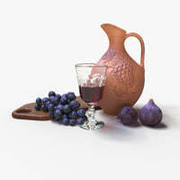 Ceramic Wine Jug with glass & fruit