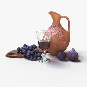 jug wine glass fruit 3D