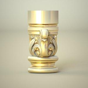 carved column capital 3D