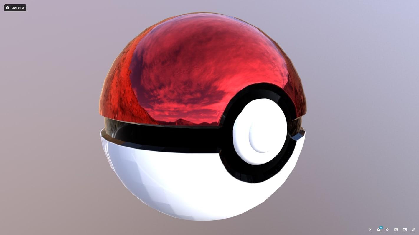 3D pokemon pokeball model
