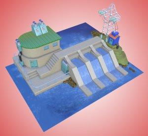 3D model cartoon drawn dam