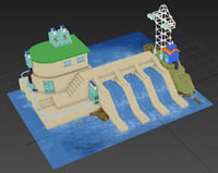 3D model cartoon drawn dam