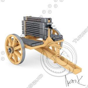 3D machine-gun leonardo da model