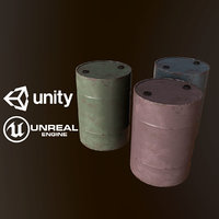 3D pbr ready metal barrels model