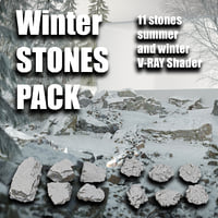 winter rocks pack 3D