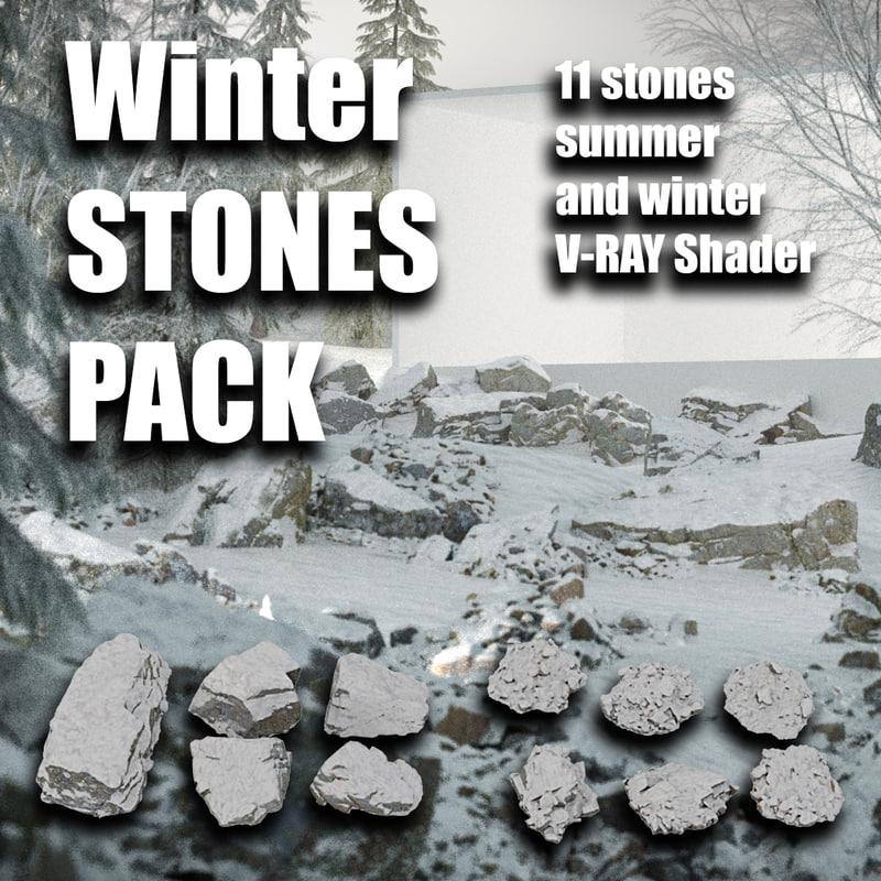 winter rocks pack 3D