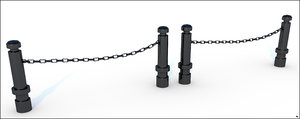3D model fence chain iron