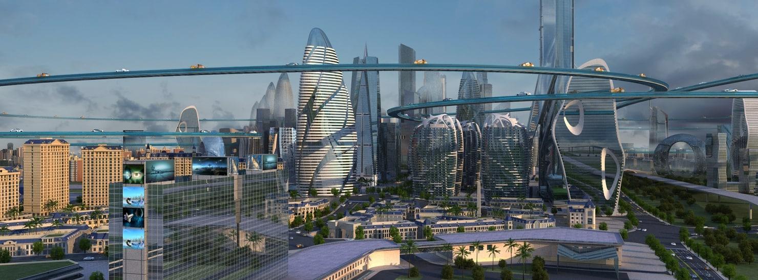 3D science fiction city
