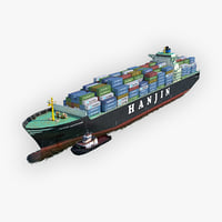 3D model cargo ship hanjin tugboat