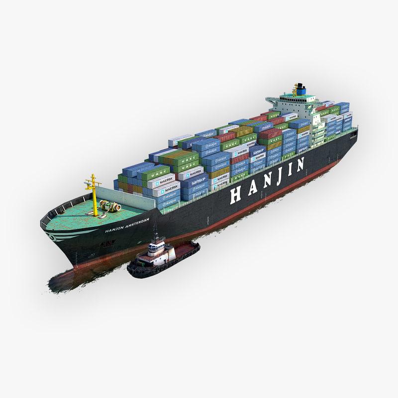 3D model cargo ship hanjin tugboat