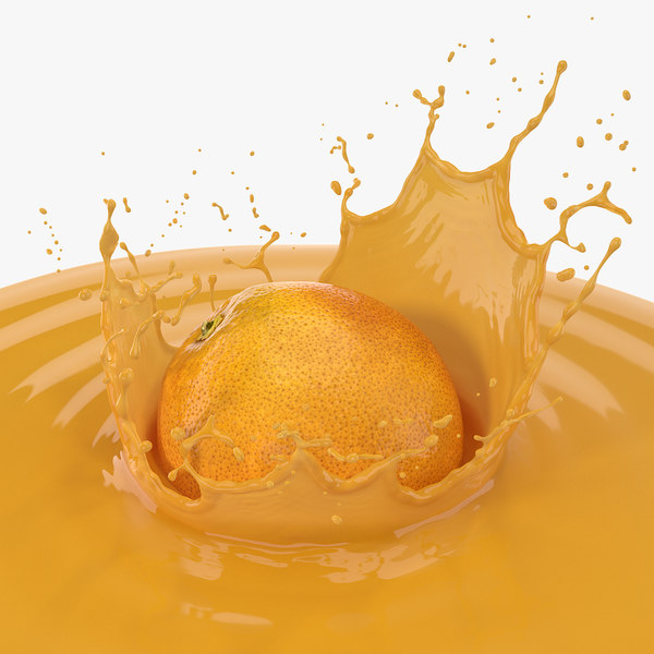 orange juice splash 3D