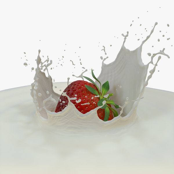 3D strawberry milk splash