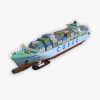 cargo ship cosco tugboat 3D model