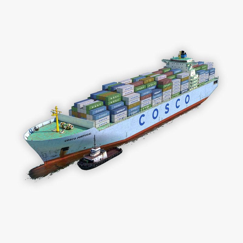 cargo ship cosco tugboat 3D model