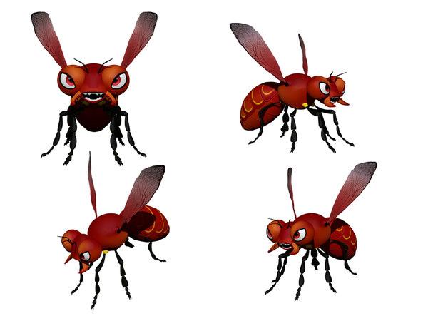 3D cartoony hornet model