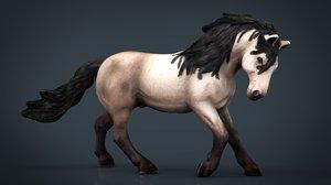 3D horse farm animal