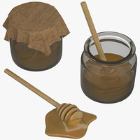 Honey in a pot and Wood Honey Dipper