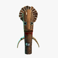 3D wood bloody totem model