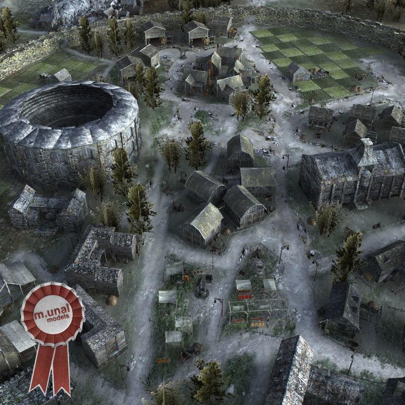 3D medieval town