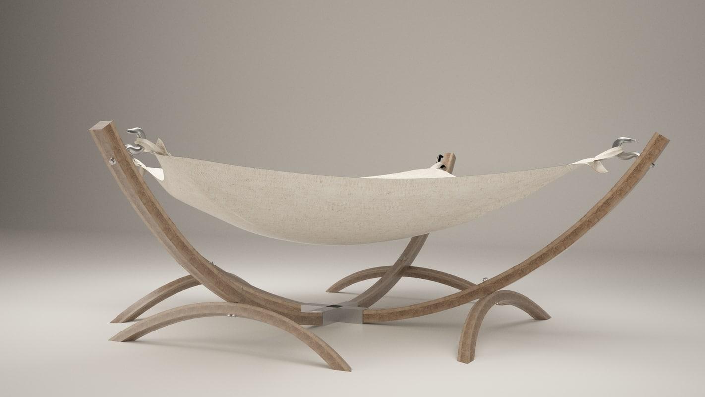 3D realistic modern hammock model