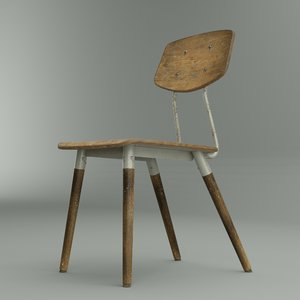 3D worn french school chair model