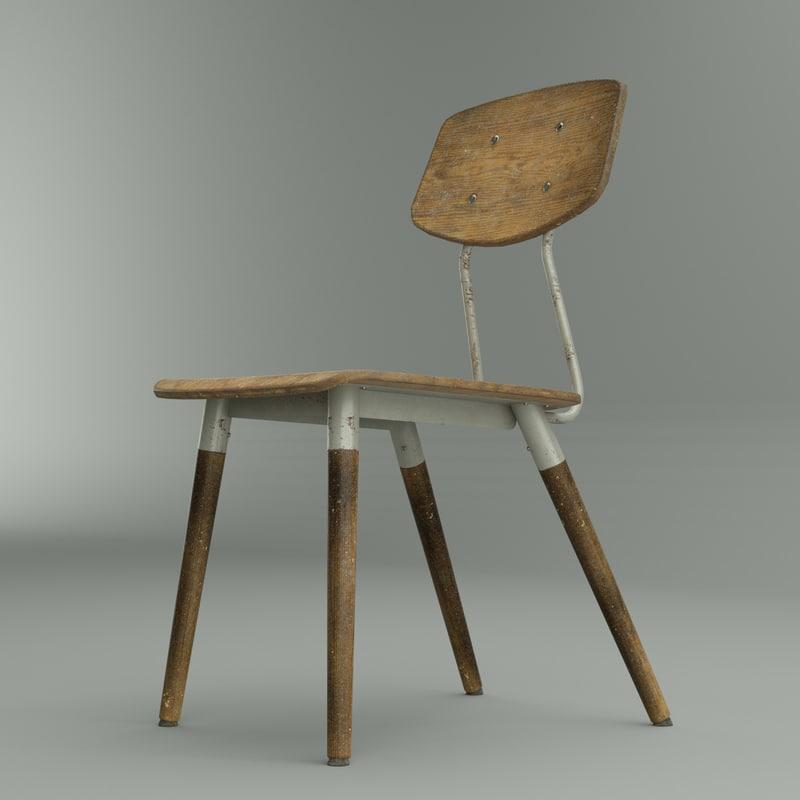 3D worn french school chair model